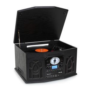 NR-620 Stereoanlage Plattenspieler MP3-Aufnahme Holzgehäuse schwarz Schwarz