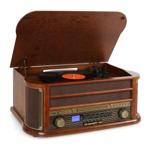 Belle Epoque 1908 Retro-Microanlage USB CD MP3 Vinyl Holzgehäuse Braun   CD-Player
