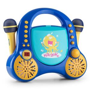 Rockpocket Kinder-Karaoke-System CD AUX 2x Mikrofon Sticker Set blau Blau