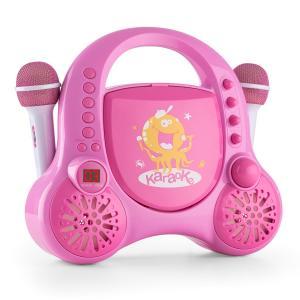 Rockpocket Kinder-Karaokesystem CD AUX 2x Mikrofon Sticker Set pink Pink
