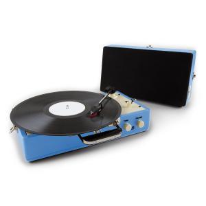 Buckingham Retro-Koffer-Plattenspieler Lautsprecher AUX blau
