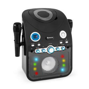 StarMaker Karaokeanlage CD Bluetooth AUX LED-Lichteffekt 2x Mikrofon Schwarz