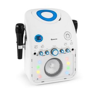 StarMaker Karaokeanlage CD Bluetooth AUX LED-Lichteffekt 2x Mikrofon Weiß