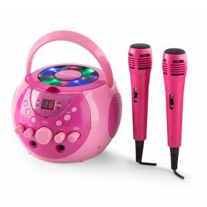 SingSing portable Karaoke-Anlage LED Batteriebetrieb 2 x Mikrofon Pink