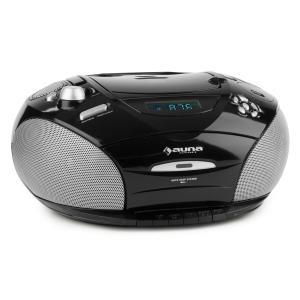 RCD 220 Boombox CD USB Kassettendeck PLL-UKW-Radio MP3 schwarz Schwarz