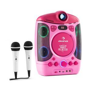 Kara Projectura Karaokemaschine mit Projektor LED-Lichtshow usb pink Pink