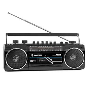 Duke Retro-Kassettenradio tragbarer Kassettenplayer USB SD Bluetooth FM-Radio Schwarz