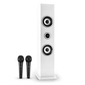 Karaboom Bluetooth-Lautsprecher USB AUX Karaoke 2 x Mikrofon weiß Weiß