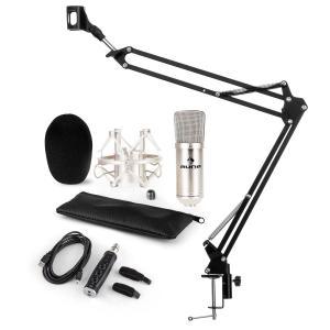 CM001S Mikrofon-Set V3 Kondensatormikrofon USB-Adapter Mikrofonarm silber