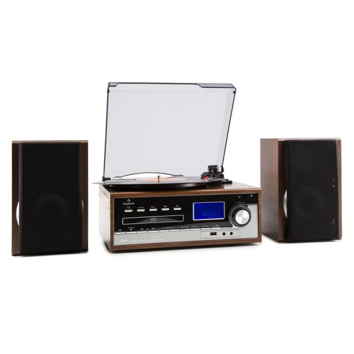 deerwood stereoanlage plattenspieler usb mp3 encoding cd kassette ukw aux braun. Black Bedroom Furniture Sets. Home Design Ideas