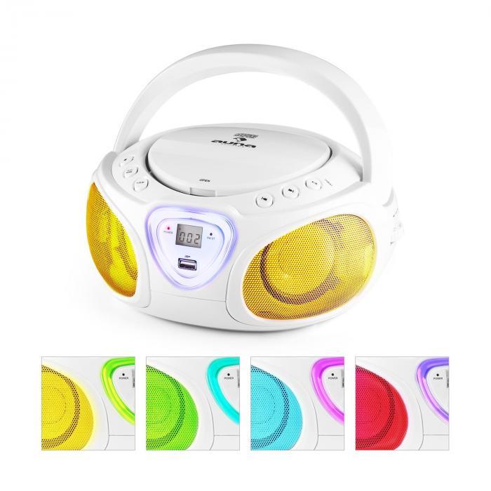 Roadie Boombox CD USB MP3 MW/UKW-Radio Bluetooth 2.1 LED-Farbspiel weiß Weiß
