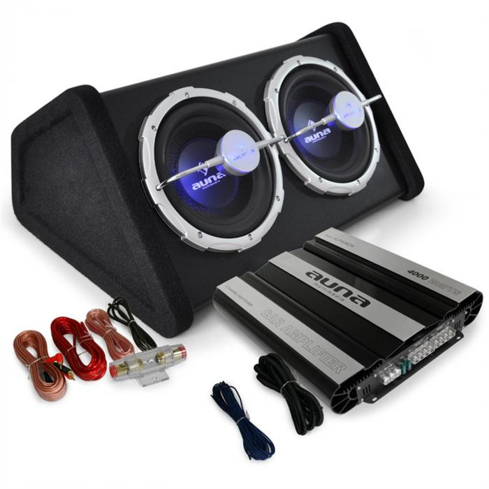 car hifi set black line 160 subwoofer endstufe 4000w max. Black Bedroom Furniture Sets. Home Design Ideas