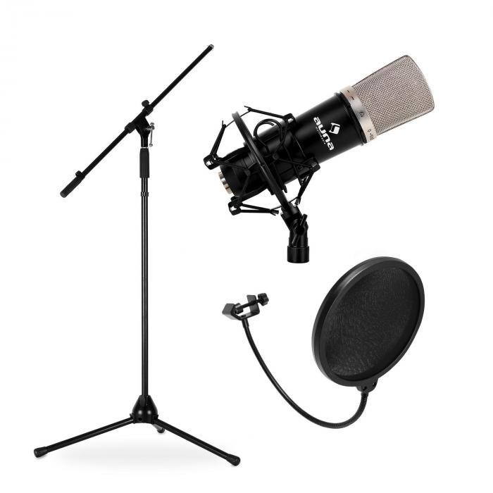 Bühnen- & Studio Mikrofonset CM003 mit Mikrofon, Stativ & Mikrofonabschirmung
