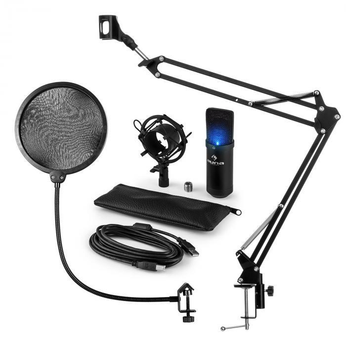MIC-900B-LED USB Mikrofonset V4 Kondensatormikro Pop-Schutz Mikroarm LED